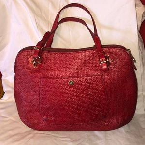 ERIC JAVITS New York RED Woven Leather LARGE PURSE